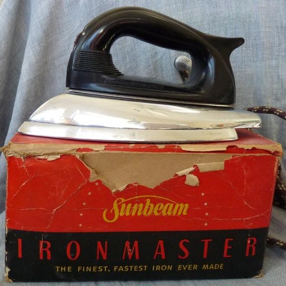 Works Vintage Sunbeam Iron Small Travel Blue 1960s 1950s